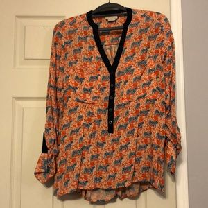 Vanessa Virginia roll tab tiger shirt